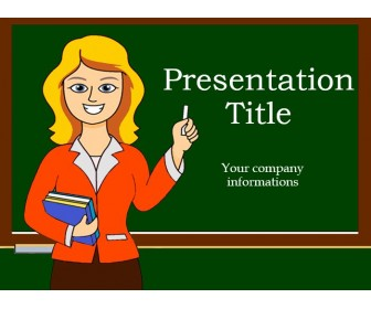 Free PowerPoint Template Displaying Teacher and Green Board