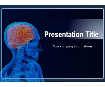 Medical PowerPoint template showing human brain.